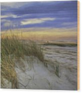 Sunset Beach Dunes Wood Print