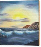 Sunset Beach Pastel Splash Dreamy Mirage Wood Print