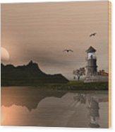 Sunset Ocean Scene Wood Print