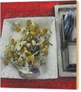 Table Settings At Time Of A Meal Wood Print