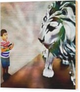 The Boy And The Lion 2 Wood Print