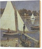 The Seine At Argenteuil Wood Print by Pierre Auguste Renoir