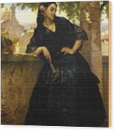 The Spanish Beauty With A Fan Wood Print