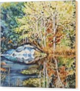 The Tree Across The Pond  Wood Print