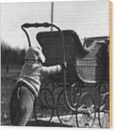 Toddler Pushing Baby Buggy 1926 Black White Boy Wood Print