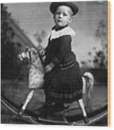 Toddler Rocking Horse 1890s Black White Archive Wood Print
