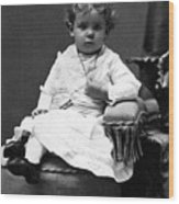 Toddler Sitting In Chair 1890s Black White Boy Wood Print