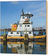 Tug Indian River Is Part Of The Scene At Port Canvaeral Florida Wood Print