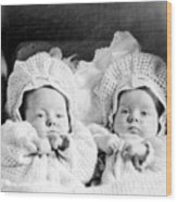 Twins In Baby Buggy 1910s Black White Archive Wood Print