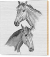 Two Horses Heads Wood Print