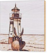 Vermilion Lighthouse Wood Print