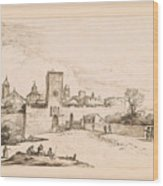 View Of A Walled Town Wood Print