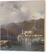 View Of Isola San Giulio In Lake Orta Wood Print