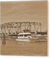 Vintage Swing Bridge In Sepia 2 Wood Print