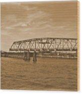 Vintage Swing Bridge In Sepia 4 Wood Print