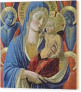 Virgin And Child With Angels Wood Print