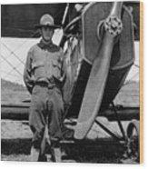 W Soldier Standing Biplane July 1923 Black White Wood Print