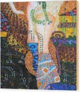 Water Serpents Reply By Gustav Klimt Wood Print