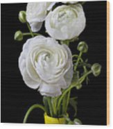 White Ranunculus In Yellow Vase Wood Print