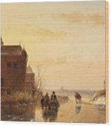 Winter Landscape With A Fort Wood Print
