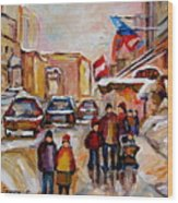 Winter Walk In Montreal Wood Print