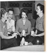 Woman Female Drinking Coffee Bowling Alley Circa Wood Print