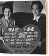 Women Females Heart Fund Sign 19591960 Black Wood Print