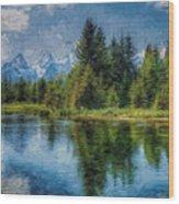 Wyoming Tetons Spruce Mountain Lake. Oil Painting . Wood Print