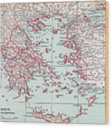 Map: Ancient Greece Wood Print