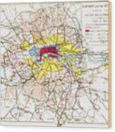 Map Of London, 1881 Wood Print