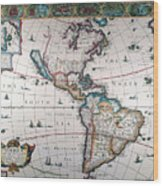 New World Map, 1616 Wood Print