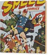 World War II: Comic Book Wood Print