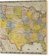 United States Map, 1866 Wood Print
