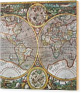 World Map, 1607 Wood Print