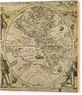 W. Hemisphere Map, 1596 Wood Print