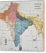 India: Map, 19th Century Wood Print