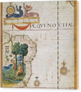 Brazil: Map And Native Indians Wood Print