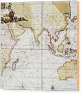 Indian Ocean: Map, 1705 Wood Print