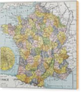 Map Of France, C1900 Wood Print