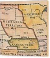 Kansas-nebraska Map, 1854 Wood Print