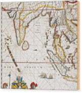 South Asia Map, 1662 Wood Print