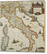 Map Of Italy, 1631 Wood Print