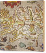 Iceland: Map, 1595 Wood Print
