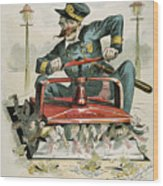 Police Corruption Cartoon Wood Print