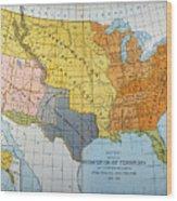 U.s. Map, 1776/1884 Wood Print