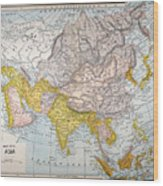 Asia Map Late 19th Century Wood Print