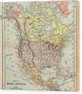 Map: North America, 1890 Wood Print