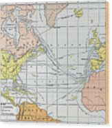 Map: Atlantic Voyages Wood Print