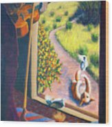 01349 The Cat And The Fiddle Wood Print