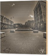 02 Plaza Of Stars Sepia Tone  Wood Print